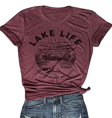 FAYALEQ Lake Life Letter Printed T Shirt Women's Funny Vacation Short Sleeve Tee Tops Size XL (Red)