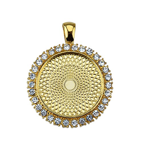 MAXENVISION 25mm 1″ Round Rhinestone Claw Pendant Tray Base fit 25mm 1