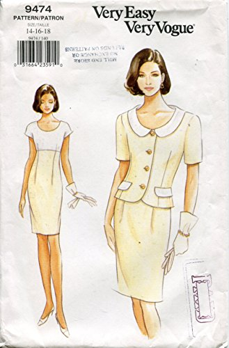 Vogue Pattern 9474 Misses' Jacket & Dress,14-16-18