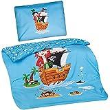 Aminata Kids Kinder-Bettwäsche 100-x-135 cm Pirat-en Piraten-Schiff Schatz Toten-Kopf-Flagge Baby-Bettwäsche 100-% Baumwolle Renforce hell-blau Bunte grün gelb Junge-n Wende