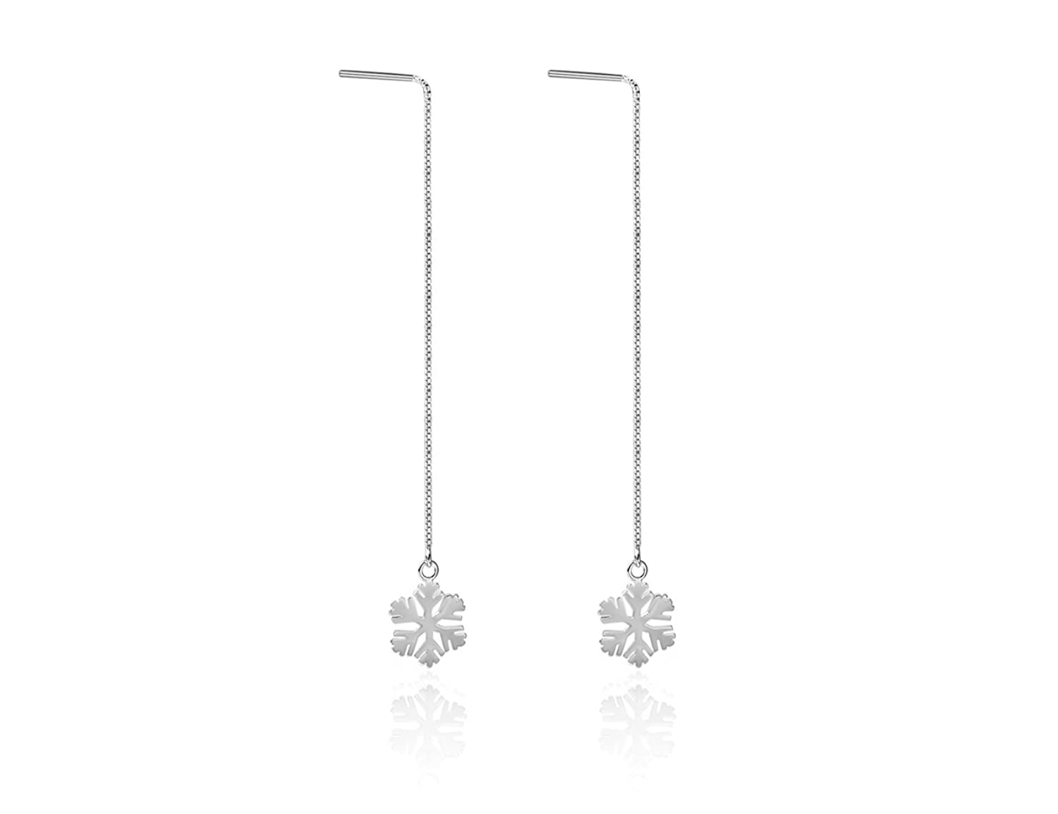 """Snowflake""925 Sterling Silver High-Polished Drop Dangle Earrings Lovely Gift for Girls"