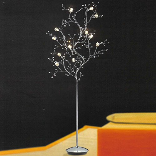 Deco Art Lamp Floor Iron (Decomust® Crystal Floor Lamp Tree Twig Branch 8 Light Iron Arts Chrome Viviana Collection)