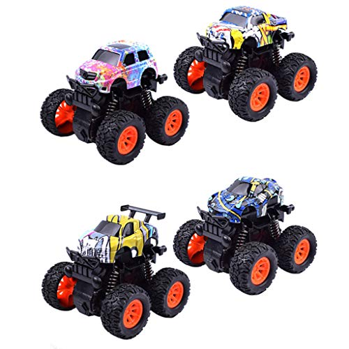 ck Climbing Big Model Toy 4Pc Mini Vehicle Pull Back Cars with Big Tire Wheel Creative Gifts for Kids ()