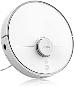 360 2000Pa Robot Vacuum Cleaner, Works with Alexa, Laser Navigation, Smart Sensor, Auto-Recharge and Resume, Washable Filter, Multi-Map Management, Off Limit App Control, Cleans Pet Hair, Carpets