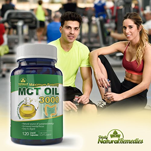 Maximum Potency 100% Pure MCT Oil Capsules 3000 mg I For Improved Energy and Brain Function I 120 Cold Pressed Softgels - Includes Bonus Keto Diet eBook by Totally Natural Remedies (Image #1)