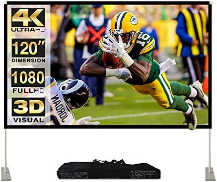 Abdtech Portable Outdoor Movie Screen, 120 inch 3D Projector Screen Frame Foldable Movie Screen for Projectors Enjoy Outdoor Film Movie Night with Carrying Bag for Indoor Outdoor Home Theater Camping