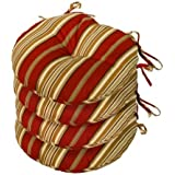 Greendale Home Fashions OC6816S4-ROMASTRIPE 15 in. Round Outdoor Bistro Chair Cushion44; Set of Four44; Roma Stripe