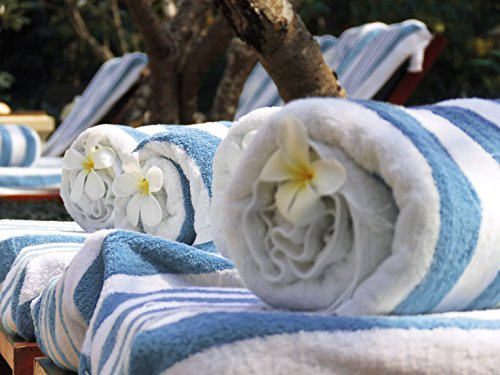 Blue and White Striped Chaise Lounge Towel Dual Set (Dual Lounge Chaise)