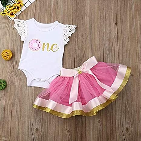 Infant Newborn Baby Girls Summer Outfit 1st Birthday Lace Ruffled Sleeve Romper Bodysuit Tutu Skirt Clothes Set