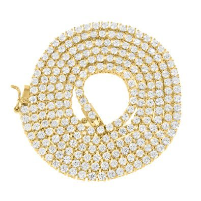 Mens Iced Out Simulated Lab Diamond 2 Tone Chain Necklace in Yellow Gold Finish