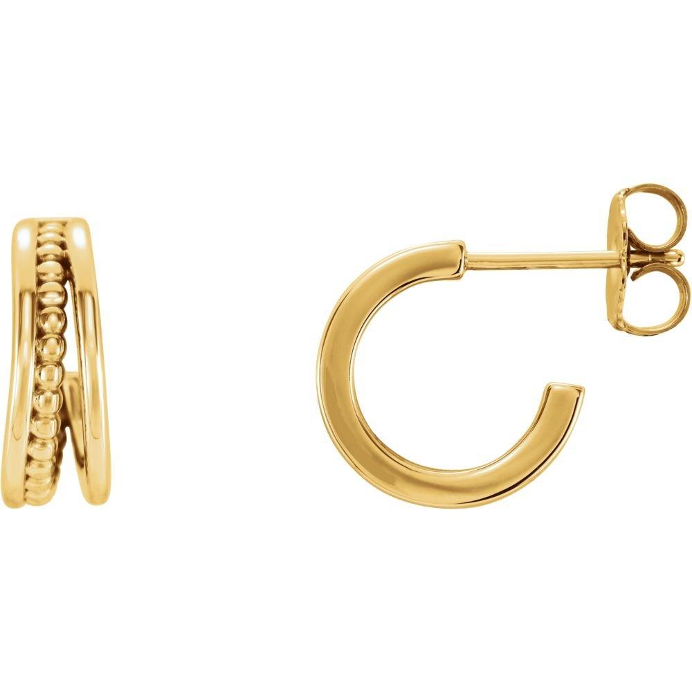 14K Yellow Beaded Hoop Earrings