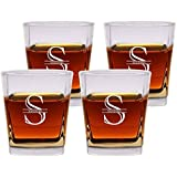 Personalized Old Fashioned Glasses Set of 4 by Froolu Customized Etched Scotch 12oz. Double Rocks Whiskey/Old Fashioned