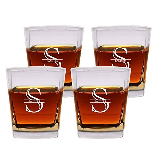 Personalized Rocks Glasses (Personalized Old Fashioned Glasses Set of 4 by Froolu Customized Etched Scotch 12oz. Double Rocks Whiskey/Old)