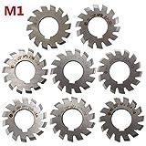 8PCS Milling Gear Cutters HSS - Module 1 PA20