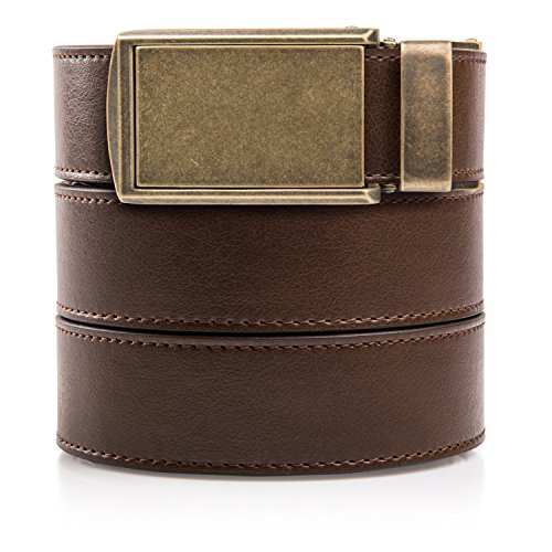 Fit Match Custom (SlideBelts Men's Classic Belt - Custom Fit (Mocha Brown Leather with Brass Buckle (Vegan), One Size))