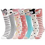 Girls Socks, Gellwhu 7-Pack Knee High Socks Cartoon Animal Warm Cotton Socks