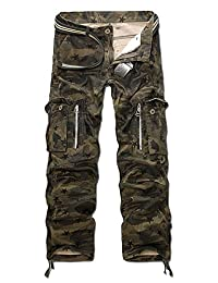 Aubig Men's Military Relaxed Fit Belted Cargo Work Pants