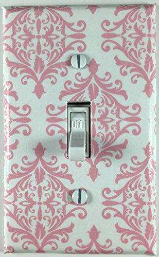 Pink White Damask Single Decorative Single Toggle Light Switch Plate Cover