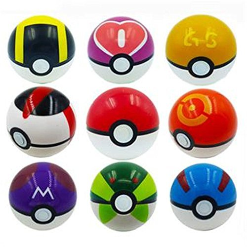 9Piece Ball Pokemon Master Great Ultra GS Pokeballs + 24Pcs Action Figures Cosplay Pop-Up Ball Kid Toys Plastic Super Anime Pikachu Pokeball Figure Variable Bouncing Child Generic