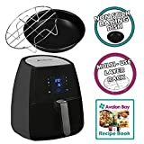 Avalon Bay Digital AirFryer with Rapid Air Circulation Technology, Large 3.7 Quart Capacity, Temperature up to 400 Degrees, Oil-Less Healthy Air Fryer, Black, AB-Airfryer220SS