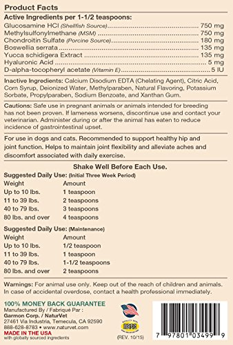 Image of NaturVet ArthriSoothe-GOLD Level 3 Advanced Joint Care for Dogs and Cats, 32 oz Liquid  , Made in USA
