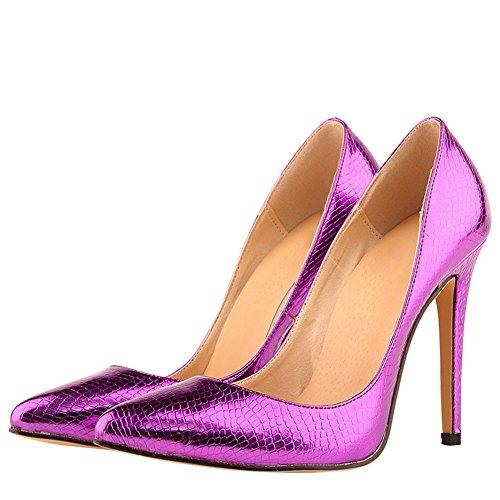 fereshte Women's Fashion Animal Print Stiletto Heels Dress Pumps Purple-1E Rg8Po