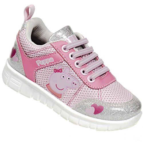 Peppa Pig Kids Toddler Girls Silver and Pink Running Glitter Sneakers Rubber Shoes with Elastic Laces, Size 6 (Shoes Toddler Peppa Pig)