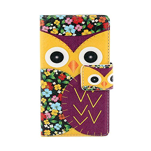 Silvercell Owl Printed Wallet Card Slot Wallet Flip Case Cover For Nokia Lumia 520 N520 Yellow