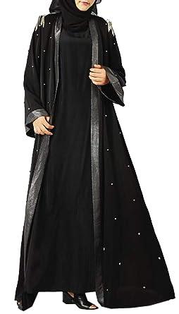 KLJR Women Arabia Fringed Long Sleeve Middle East Open Front Cardigan Robe Dress