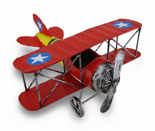 Yellow Biplane - Things2die4 Metal Statues Red And Yellow Metal Bi-Plane Sculpture 12 In. 12 X 5.5 X 10.75 Inches Multicolored