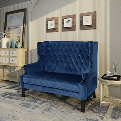 Christopher Knight Home 303834 Nollie High Back Tufted Winged Cobalt Velvet Loveseat, Dark Brown