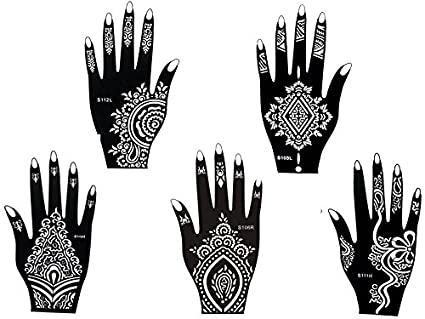 amazon com tattoo stencil template set of 5 different sheets henna