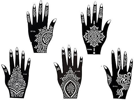 Mehandi Kit de 5 plantillas 5 con diseños de Henna para manos. También adecuadas para tatuajes de brillantina y aerógrafo. Usar y tirar.: Amazon.es: Belleza