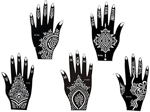5 Sheets STENCILS TATTOO Set 5 Mehndi TemplateTattoo Henna Designs for Hand - single use - for Henna Tattoo Glitter Tattoo Airbrush Tattoo Beyond