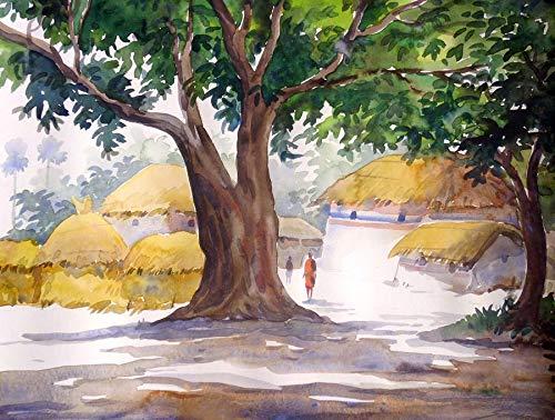 Big tree in village (Watercolor Painting by Samiran Sarkar