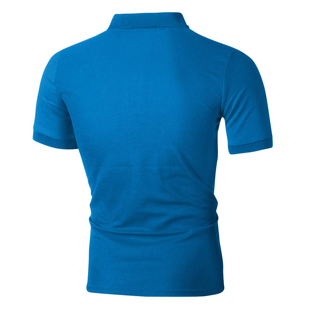 Hosamtel Men Polo Shirt Short Sleeve with Button Pocket Summer Casual Sport Workout Fitness Slim Fit T-Shirt Tops Blouse