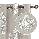 Deconovo Blackout Curtains Foil Print Flower Design Room Darkening Thermal Insulated Light Blocking Window Drapes for Bedroom 42x95 Inch Light Beige Set of 2