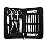 AMarkUp Professional Stainless Steel Nail Clippers Pedicure Cutter Manicure Set for Outdoor Travel Tool Kit (15Pcs/set, Black)
