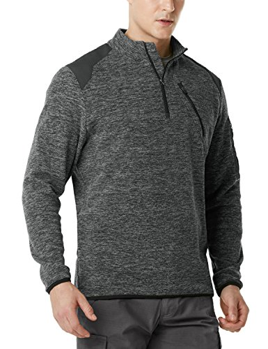 CQR CQ-HKZ01-DGY_X-Large Men's Tactical 1/4 Zip Fleece Military Outdoor Army Sport Slim Fit Sweatshirt HKZ01
