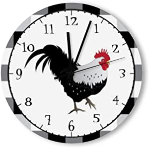 PotteLove 12 Inch Silent Vintage Wooden Round Wall Clock Non Ticking Quartz Battery Operated, Rooster with Black White Check Rustic Chic Style Wooden Round Home Decor Wall Clock