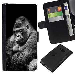 All Phone Most Case / Oferta Especial Cáscara Funda de cuero Monedero Cubierta de proteccion Caso / Wallet Case for HTC One M9 // gran gran gorila negro significado blanco