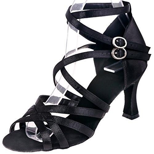 Loslandifen Donna Double Criss Cross Strap Scarpe Da Ballo Tessuto Stile Fibbia Salsa Tango Sandali Latino Black-a