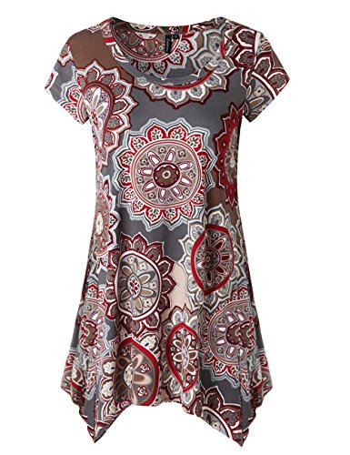 Zattcas Womens Short Sleeve Flare Tunic Tops Loose Fit Print Summer Tunic Shirt