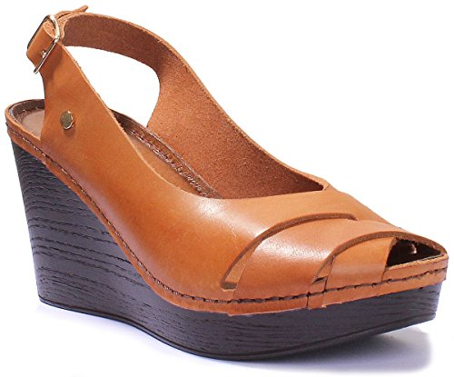 Justin Reece 7820 Womens Leather Matt Peep Toe Wedge Sandals Tan KENLK04JCq