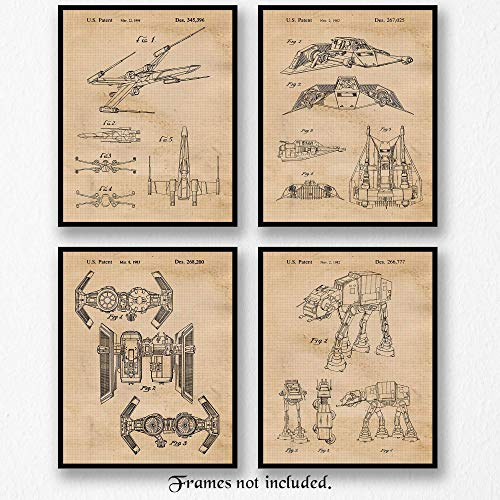 Original Star Wars Patent Art Poster Prints - Set of 4 (Four Photos) 8x10 Unframed - Great Wall Art Decor Gifts Under $20 for Home, Office, Studio, Garage, Man Cave, Student, Teacher, Movies Fan