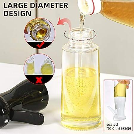 Akatsuki Dispensador de Aceite, Pulverizadores de Aceite para Cocina 7 oz / 210 ml Dispensador de Aceite de Oliva para cocinar, Barbacoa, Asar, Hornear(Blanco)[Clase de eficiencia energética A+++]