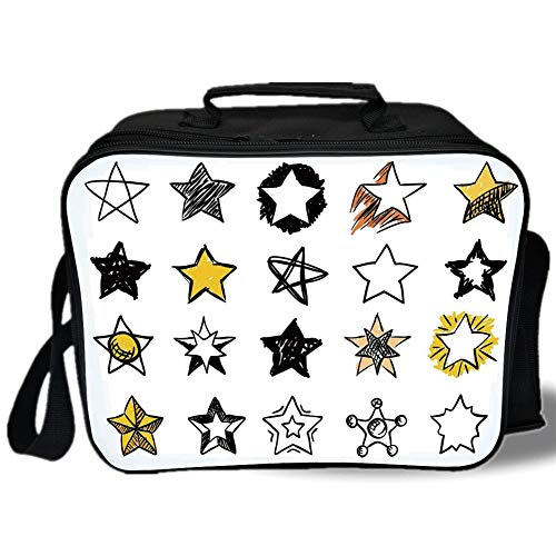 Insulated Lunch Bag,Star,Sweet Sixteen Stars Hand Drawn Style Colorful Art Rock Punk Themed Teen Room Design,Yellow White,for Work/School/Picnic, Grey]()