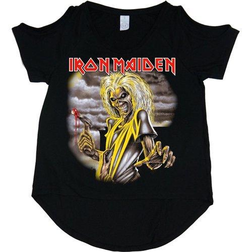 Offizieller Iron Maiden Killers Ausschnitt, T-Shirt, Damen, Schwarz,