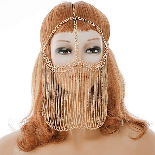CCbodily Masquerade Mask Ball Metal Rhinestone Mask Face Chain for Women Couples (Gold-03)]()