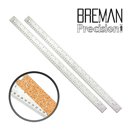 24 inch Stainless Steel Metal Ruler 2 Pack- 24 inch High Grade Flexible Stainless Steel Ruler with Non Slip Cork Base for Excellent Precision and Accuracy (2 Pack) by Breman Precision